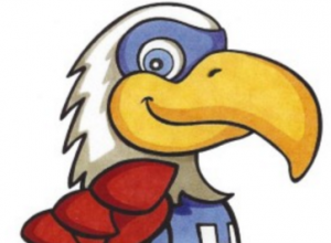 cartoon eagle with superhero costume on